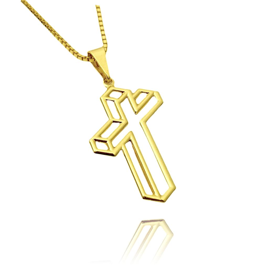 Pingente Crucifixo Vazado Lateral (2,7cmX1,6cm) (Banho Ouro 24k)