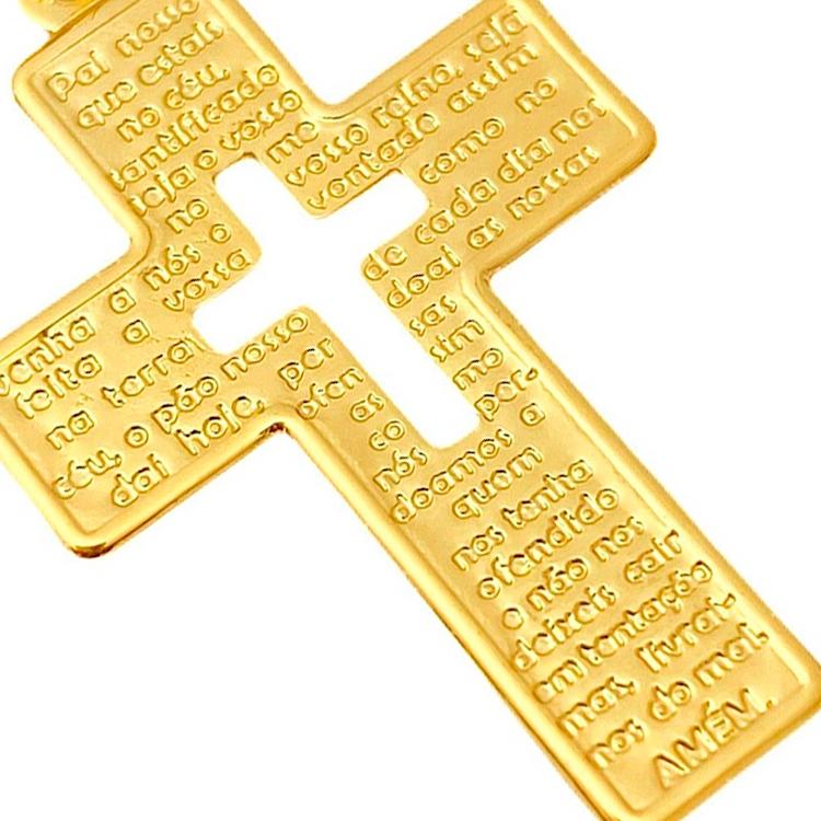Pingente Crucifixo Vazado Pai Nosso (3,3cmx2,1cm) (Banho Ouro 24k)