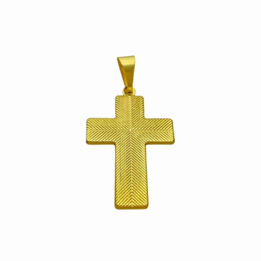 Pingente Cruz c/ Cristo Duas Texturas (3,8cm x 2,8cm) (Banho Ouro 24k)