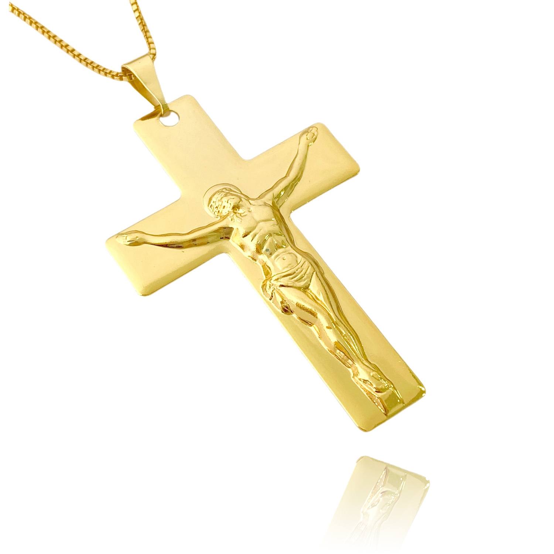 Pingente Cruz Com Cristo (5,1cmX3,4cm) (Banho Ouro 24k)