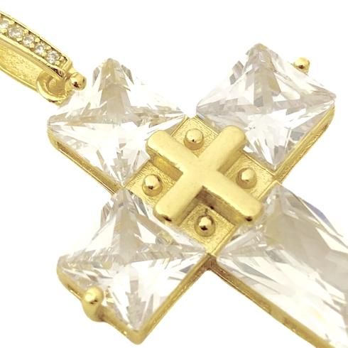 Pingente Cruz Com Pedras Quadradas (8g) (3,3cmX2,6cm) (Banho Ouro 24k)