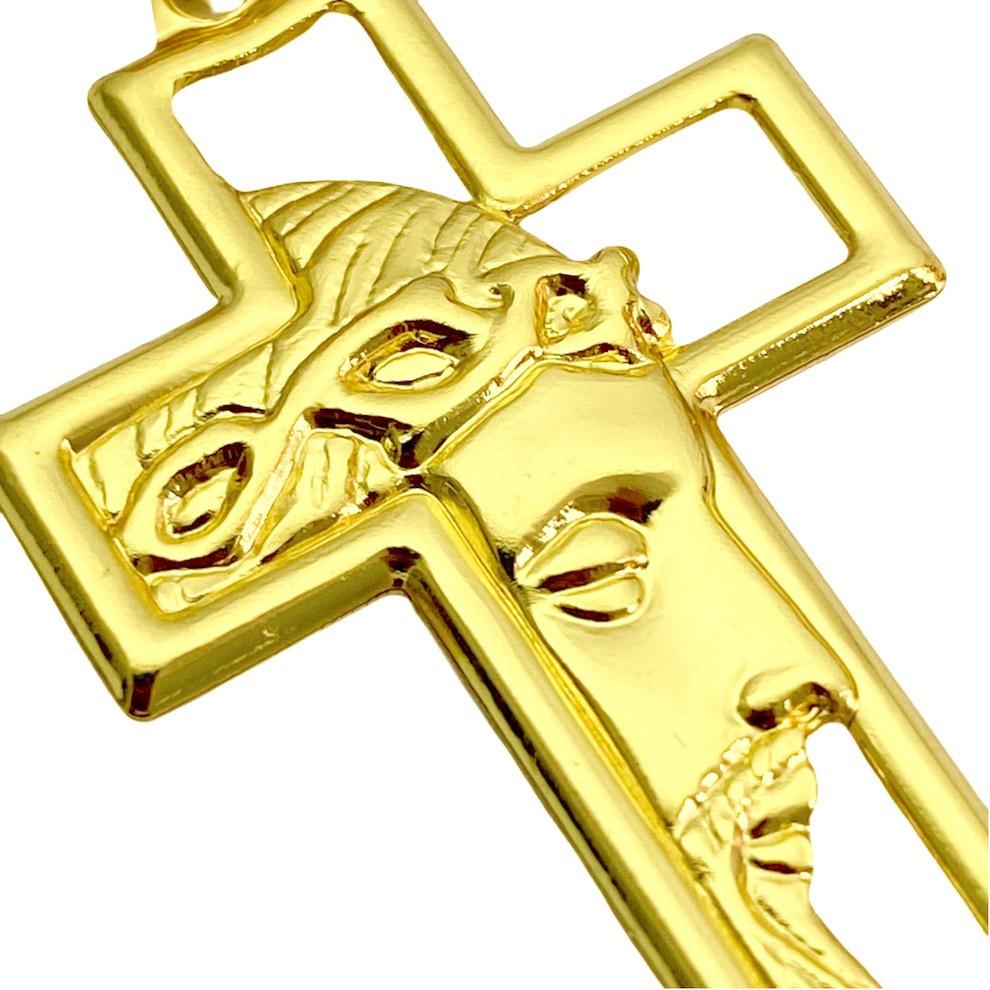 Pingente Cruz com Rosto de Cristo Vazado (2,5g) (3,7x2,2cm) (Banho Ouro 24k)