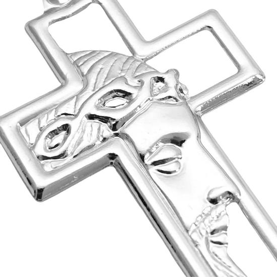 Pingente Cruz com Rosto de Cristo Vazado (3,7x2,2cm) (Banho Prata 925)