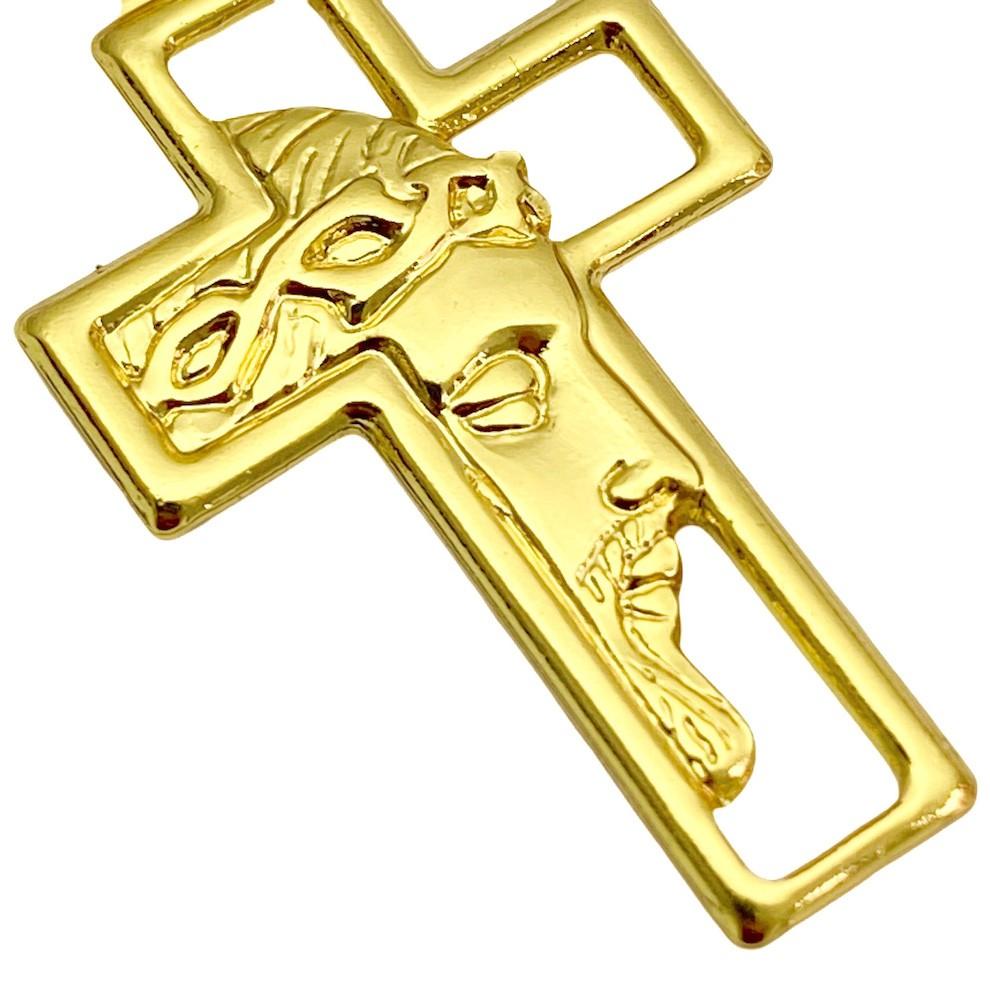 Pingente Cruz com Rosto de Cristo Vazado Mini (1,7g) (2,7x1,6cm) (Banho Ouro 24k)
