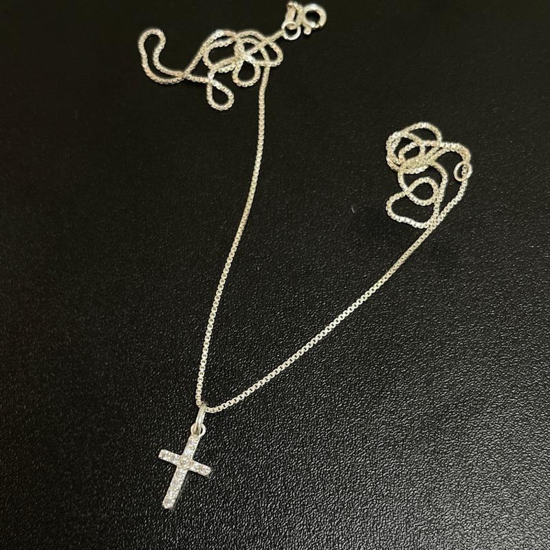 Pingente Cruz Cravejada em Zircônia (1,6cmX1,1cm) (Prata 925 Maciça)