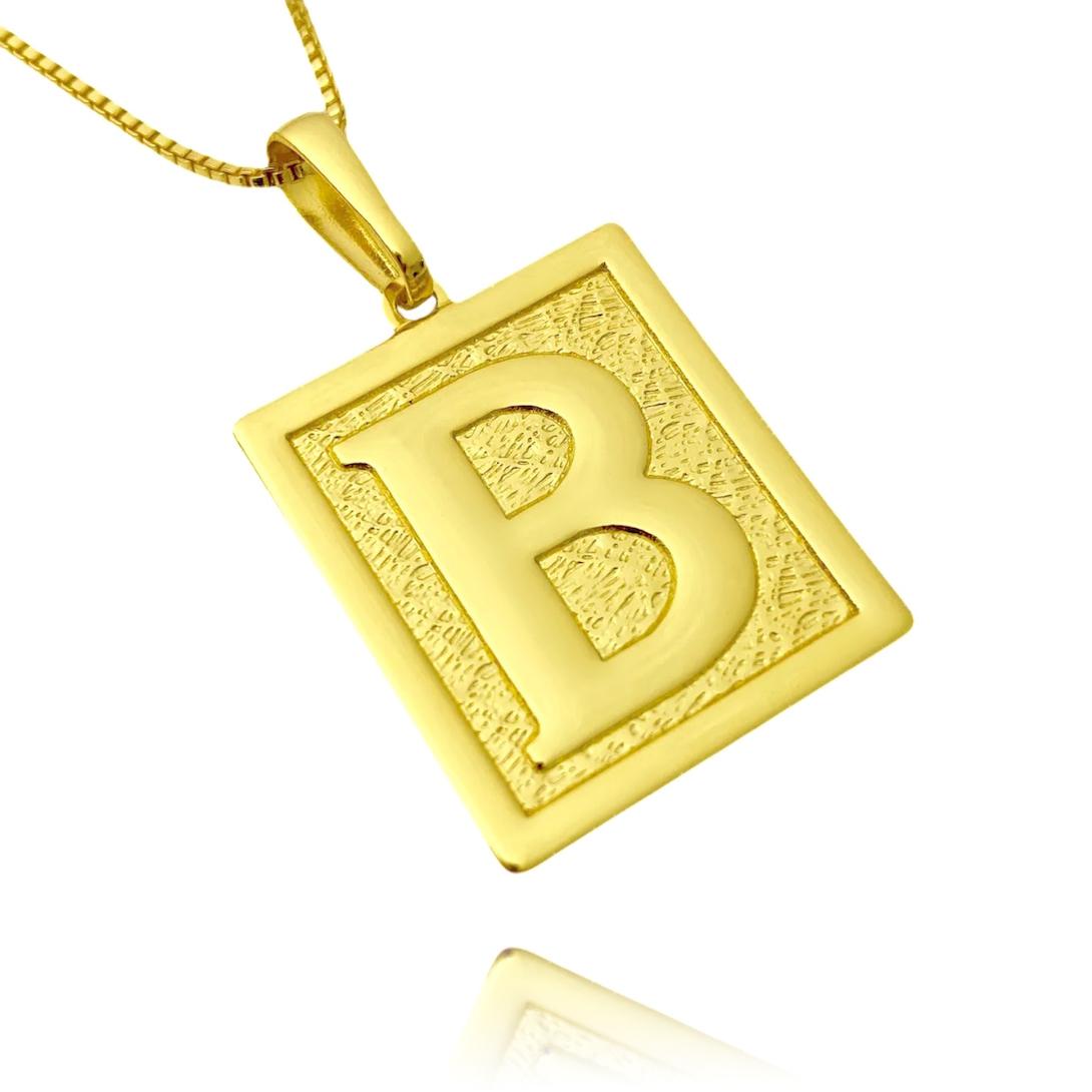 Pingente De Letra (2,6cmX2,3cm) (Entre e escolha a sua letra) (Banho Ouro 24k)