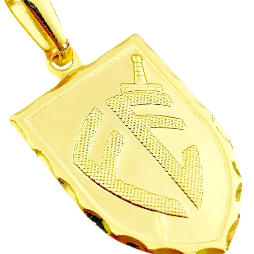 Pingente Escudo Da Fé (2,5cmX1,6cm) (Banho Ouro 24k)