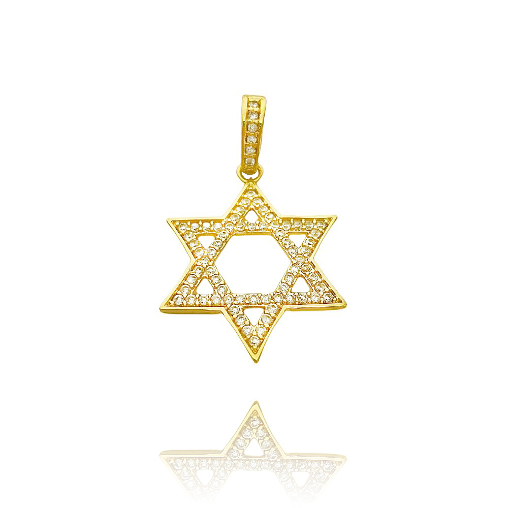 Pingente Estrela de Davi Cravejado em Zircônia (3,2cmX3,2cm) (Banho Ouro 24k)