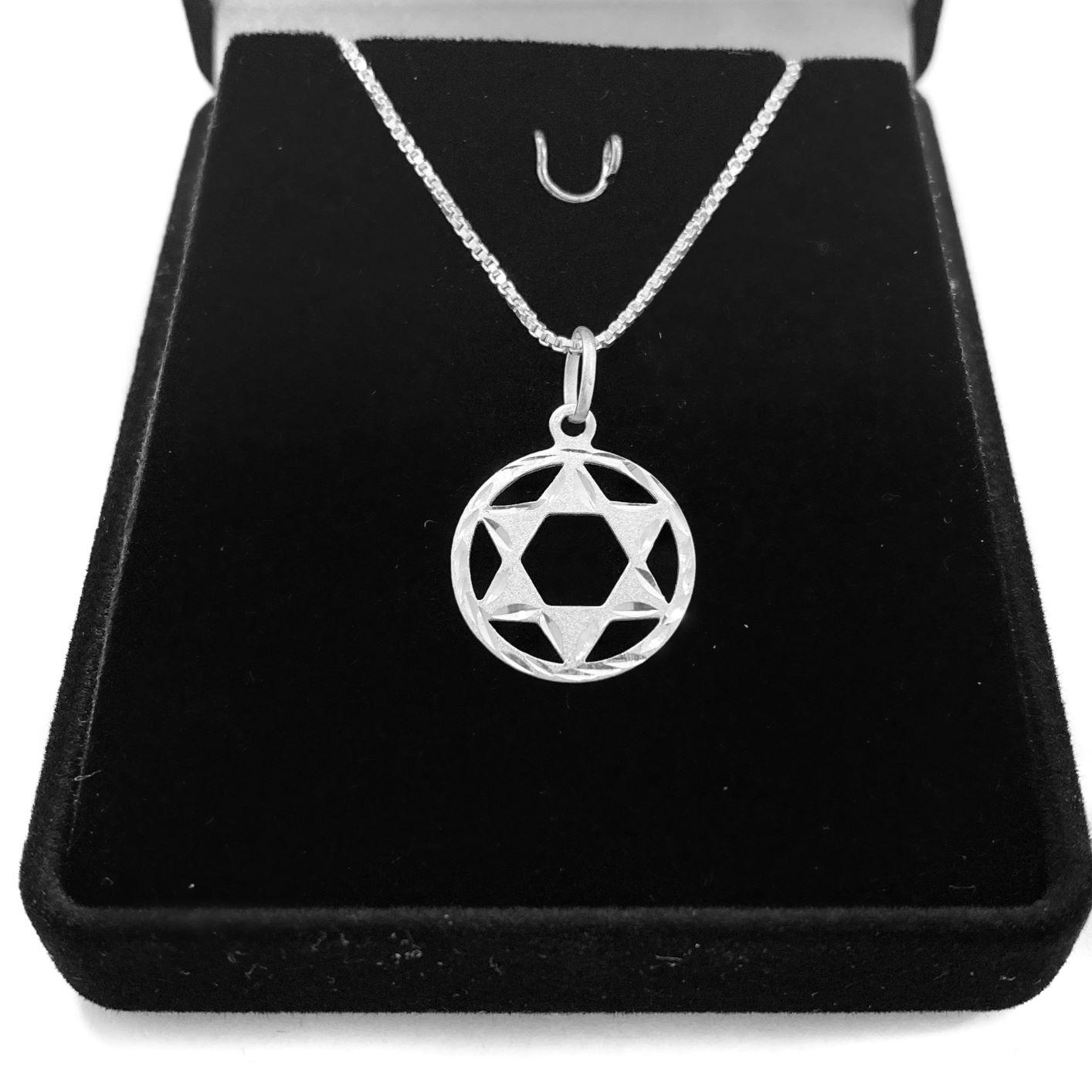 Pingente Estrela De Davi Diamantada 1,5cm x 1,5cm (Prata 925 Italiana)