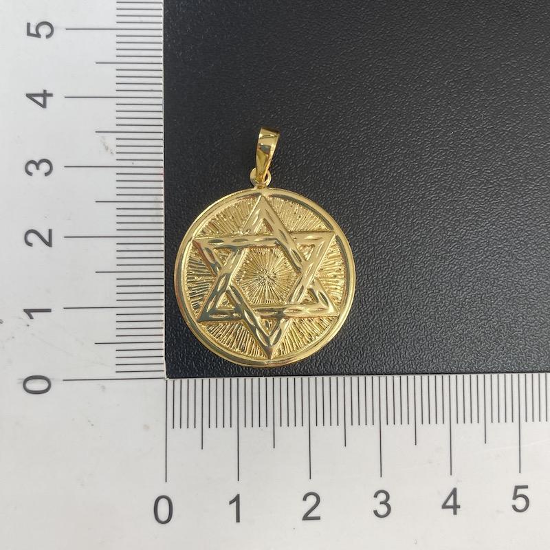 Pingente Estrela de Davi Texturizada (3cm X 2,7cm) (Banho Ouro 24k)