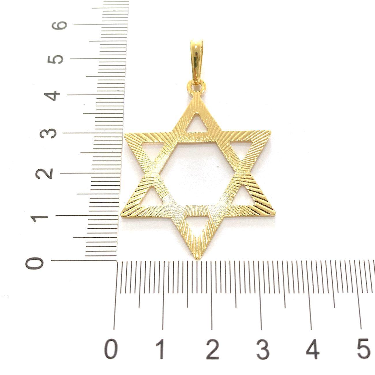 Pingente Estrela de Davi Vazada Grande (4,5cmX3,6cm) (Banho Ouro 24k)