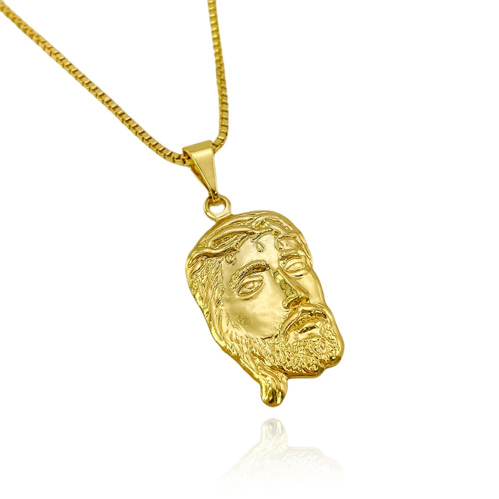 Pingente Face de Cristo (2,5cmX1,5cm) (Banho Ouro 24k)