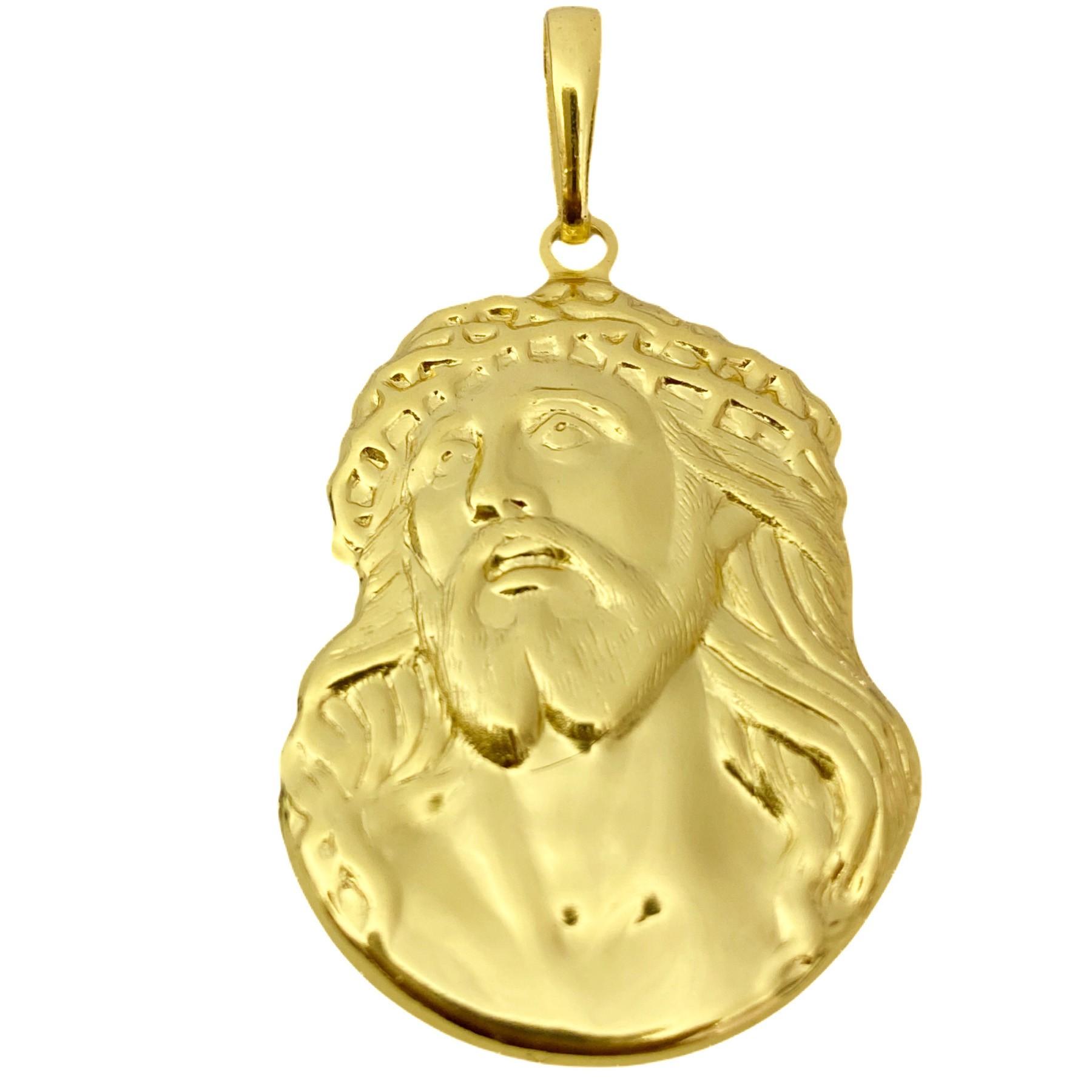 Pingente Face de Cristo Detalhado (4,2g) (Banho Ouro 24k)