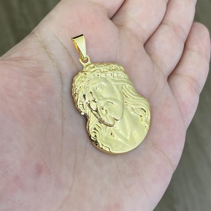 Pingente Face de Cristo Detalhado (4,1cmX2,9cm) (Banho Ouro 24k)
