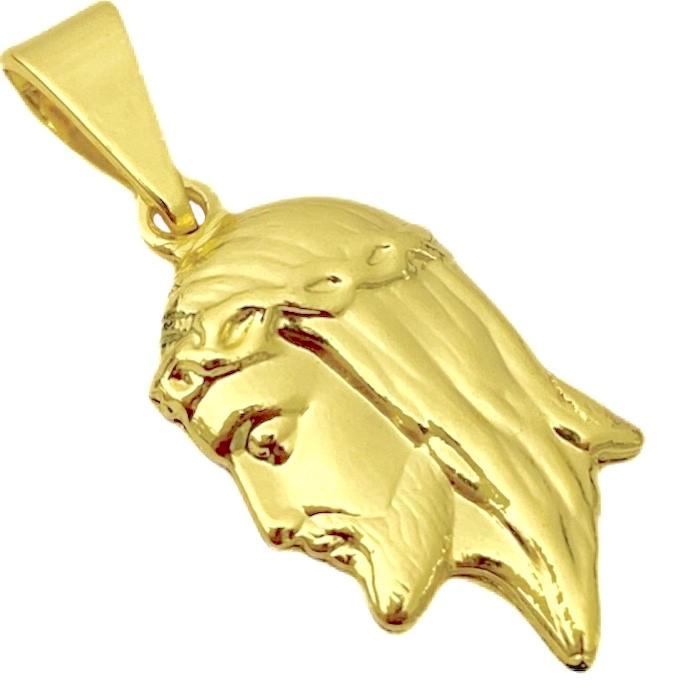 Pingente Face de Cristo Dupla Face (1,9cmX1,2cm) (Banho Ouro 24k)