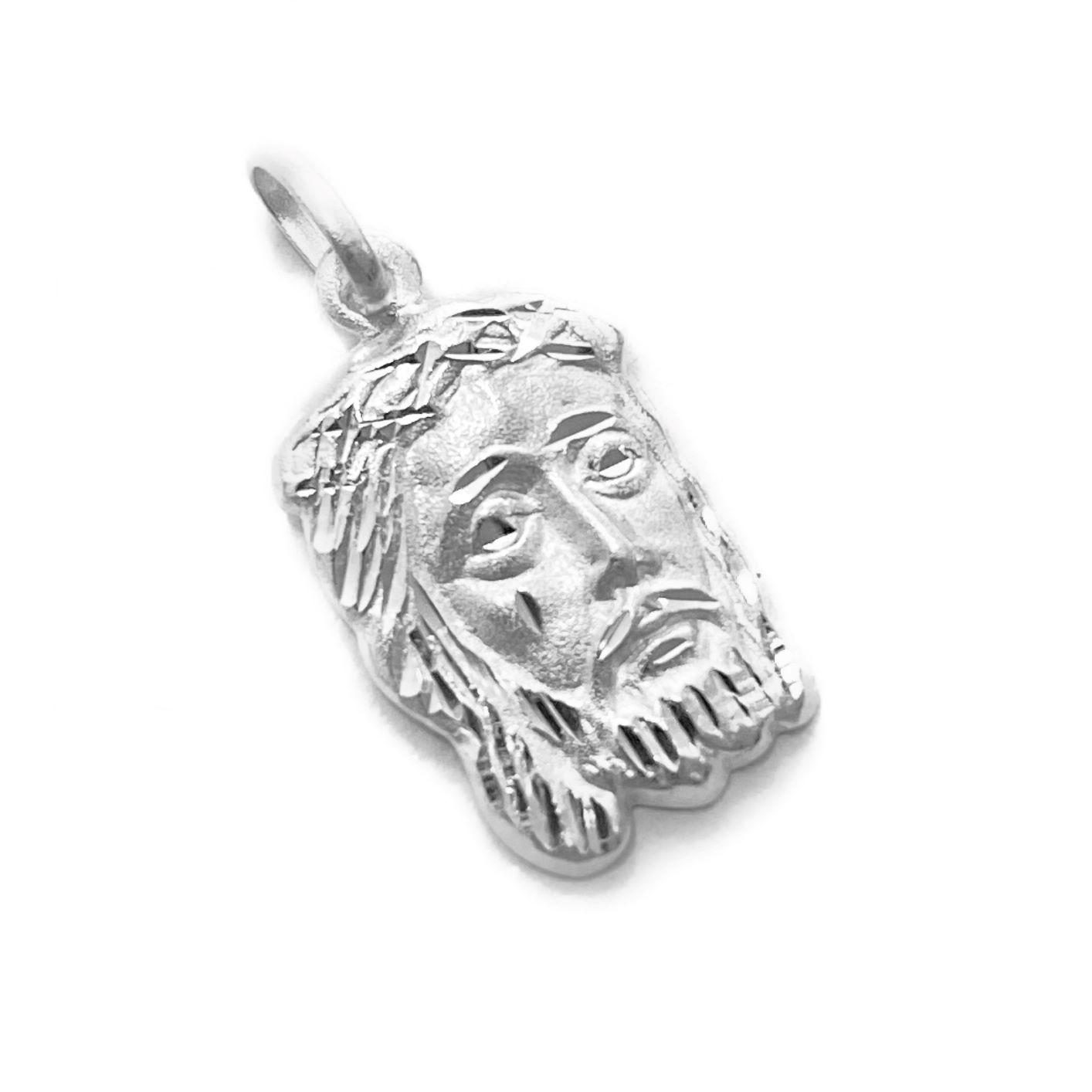 Pingente Face De Cristo Mini Diamantada 1,6cm X 1cm (Prata 925 Italiana)