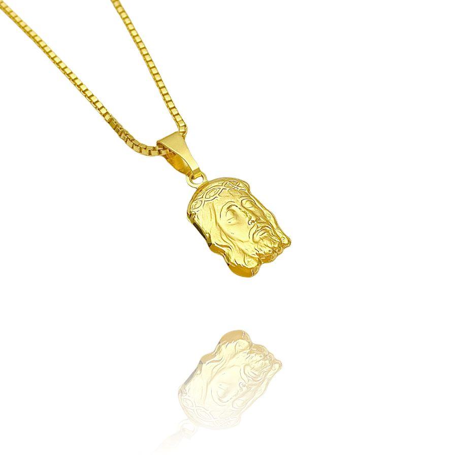 Pingente Face de Cristo Pequeno 2 (1,6cmX1cm) (Banho Ouro 24k)