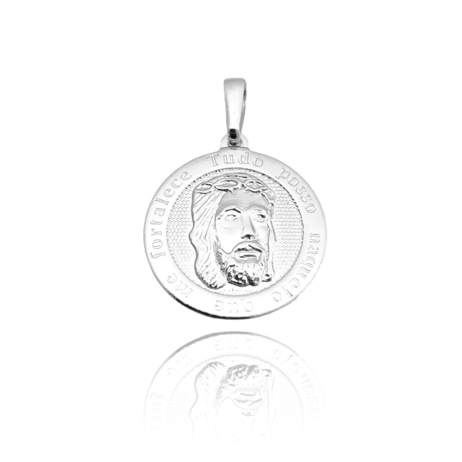 Pingente Face de Cristo Redondo (2cmX2cm) (Banho Prata 925)