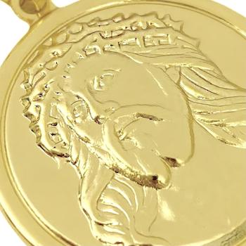 Pingente Face de Cristo Redondo Sobre (3cmX3cm) (Banho Ouro 24k)