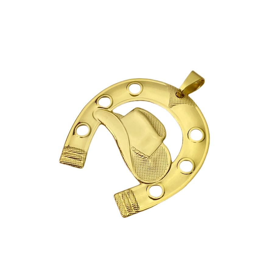 Pingente Ferradura Chapéu G (3,7cmX3,6cm) (Banho Ouro 24k)