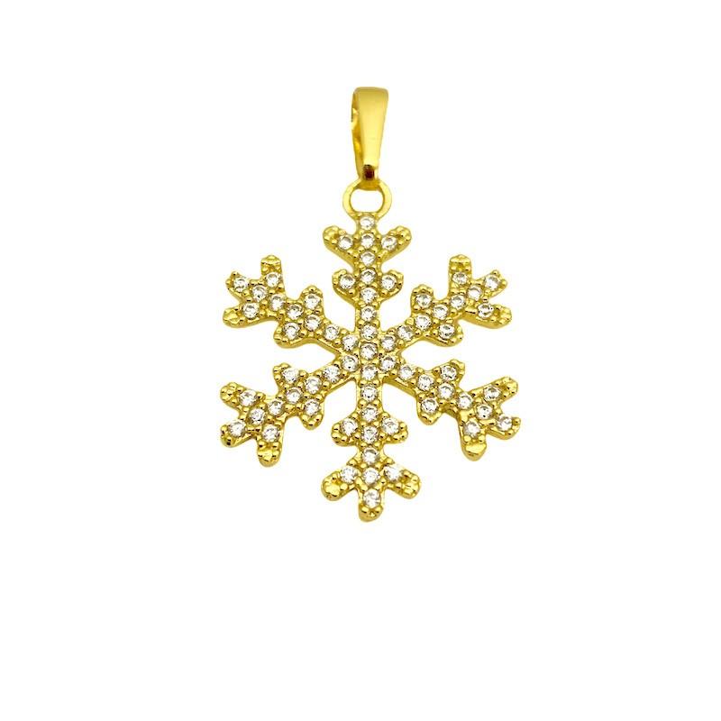 Pingente Floco De Neve Iced 2,3cm X 2,3cm (2,8g) (Banho Ouro 24k)