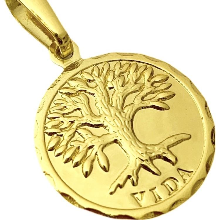Pingente Medalha Árvore Da Vida (2,1cmX1,8cm) (Banho Ouro 24k)