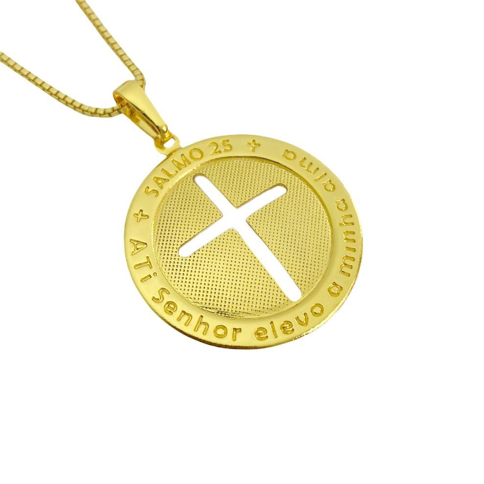 Pingente Medalha Crucifixo salmo 23 (2,6x2,6cm) (2,8g) (Banho Ouro 24k)