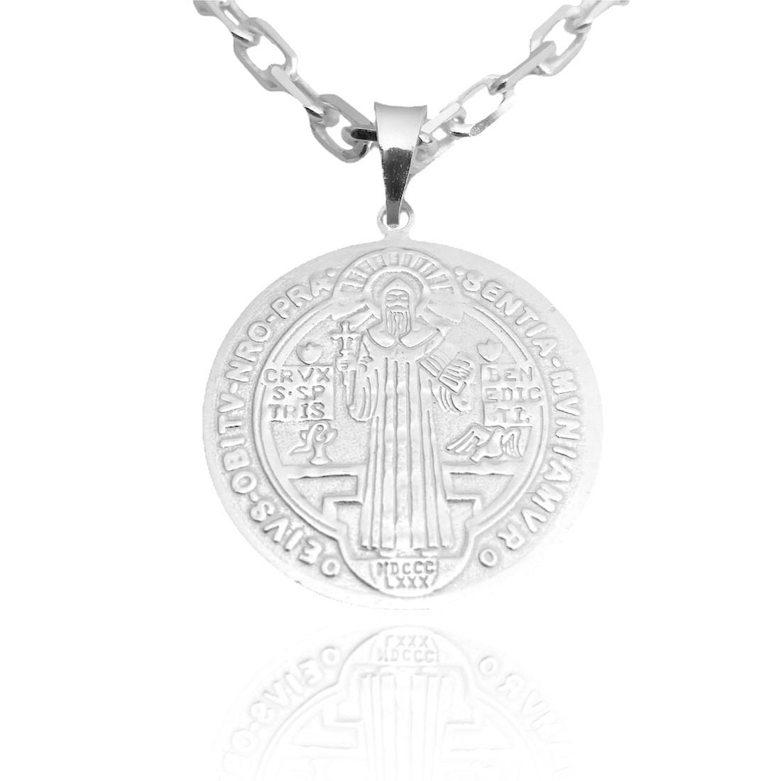 Pingente Medalha de São Bento Dupla Face (2,5cmX2,5cm) (Prata 925 Italiana)