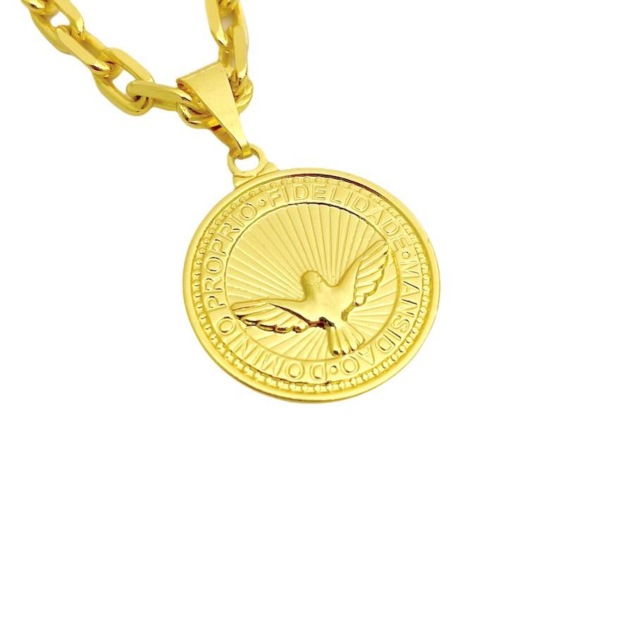 Pingente Medalha Divino Espirito Santo 2cm X 2cm (Banho Ouro 24K)
