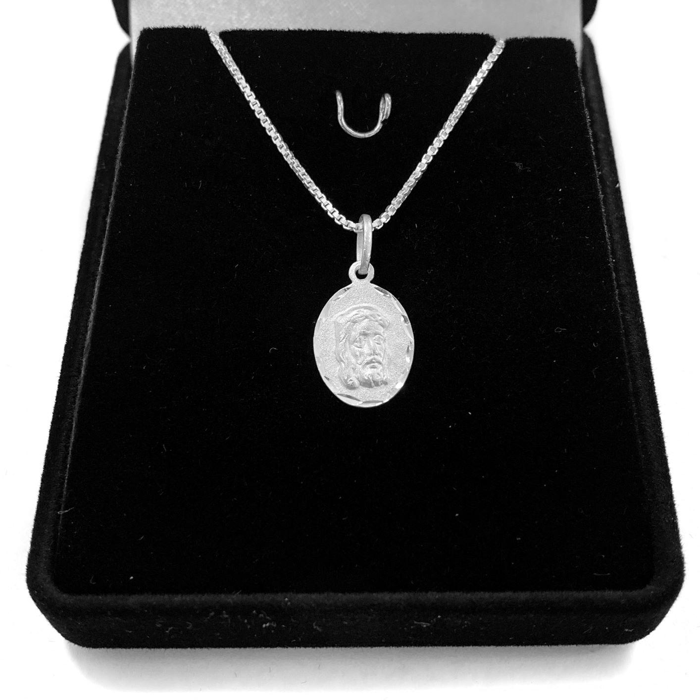 Pingente Medalha Face de Cristo Mini 1,4cm x 1cm (Prata 925 Italiana)