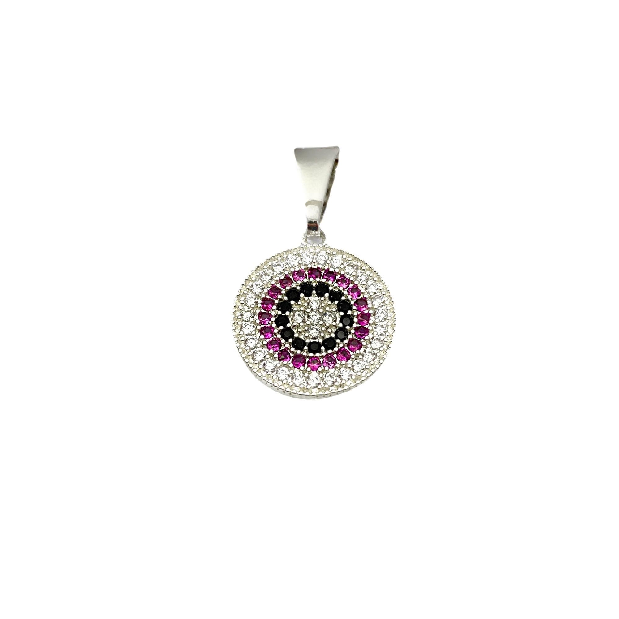Pingente Medalha Mandala Cravejado em Zircônia 1,5cm X 1,5cm (Banho Prata 925)