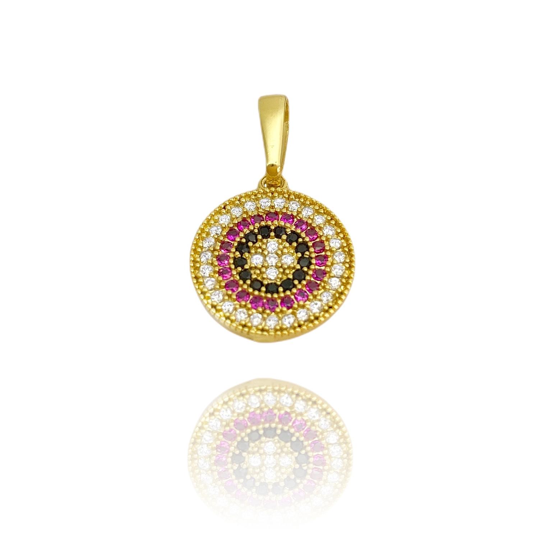 Pingente Medalha Mandala Cravejado em Zircônia 1,5cm X 1,5cm (Banho Ouro 24K)