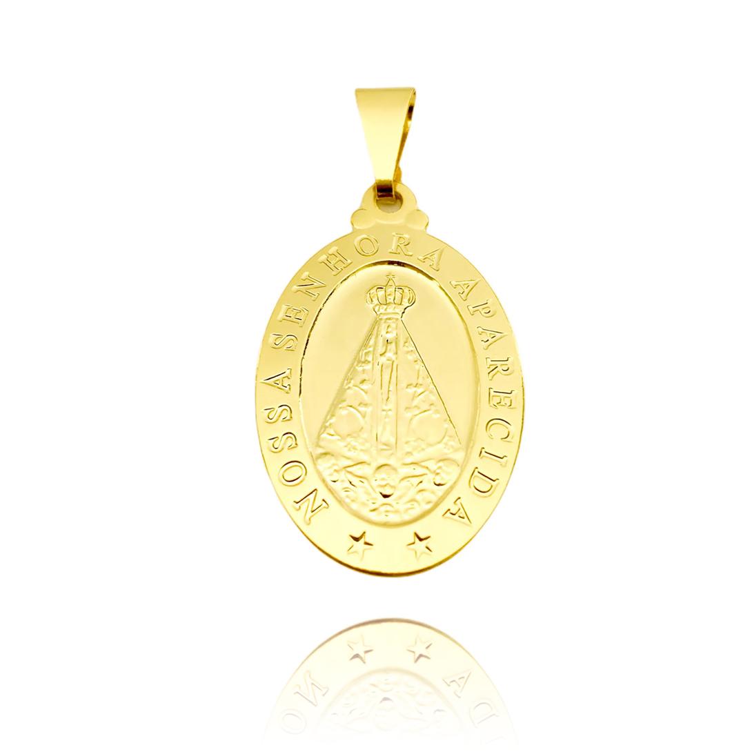 Pingente Medalha Nossa Senhora Aparecida (2,3cmX1,2cm)  (Banho Ouro 24k)
