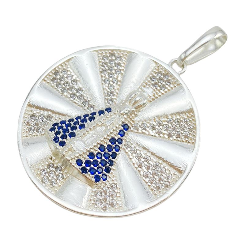 Pingente Medalha Nossa Senhora Cravejado (3,9cmX3,6cm) (9,2g) (Banho Prata 925)