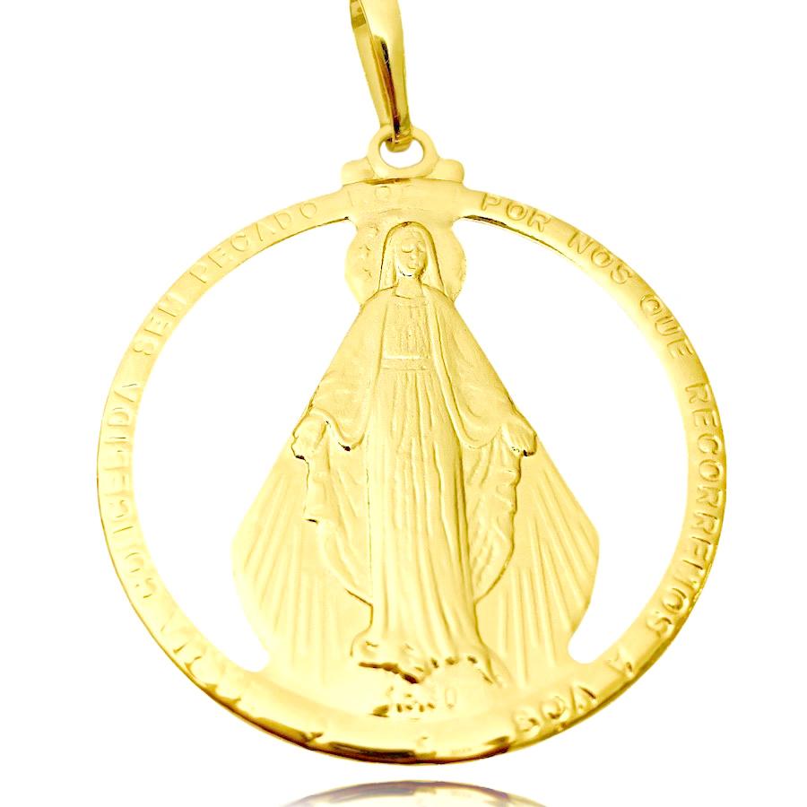Pingente Medalha Nossa Senhora da Graça (4,5cmX4,1cm) (Banho Ouro 24k)