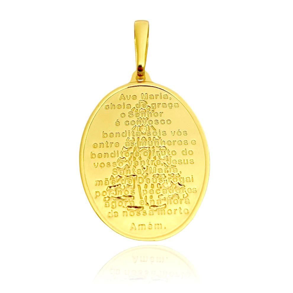 """Pingente Medalha Oval """"Ave Maria"""" (3,3cmX2,4cm) (Banho Ouro 24k)"""