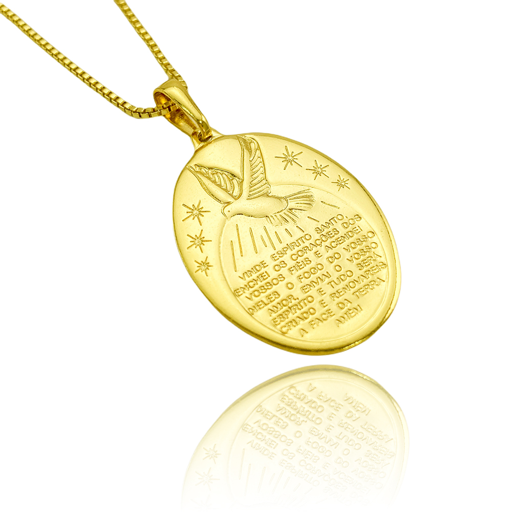 """Pingente Medalha Oval """"Espirito Santo"""" (3,3cmX2,4cm) (Banho Ouro 24k)"""
