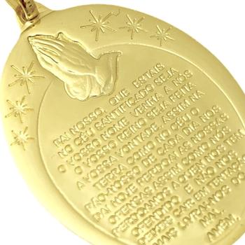 Pingente Medalha Pai Nosso (3,3cmX2,4cm) (Banho Ouro 24k)