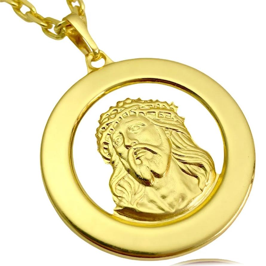 Pingente Medalha Rosto de Cristo (4,0x4,0cm) (5,4g) (Banho Ouro 24k)