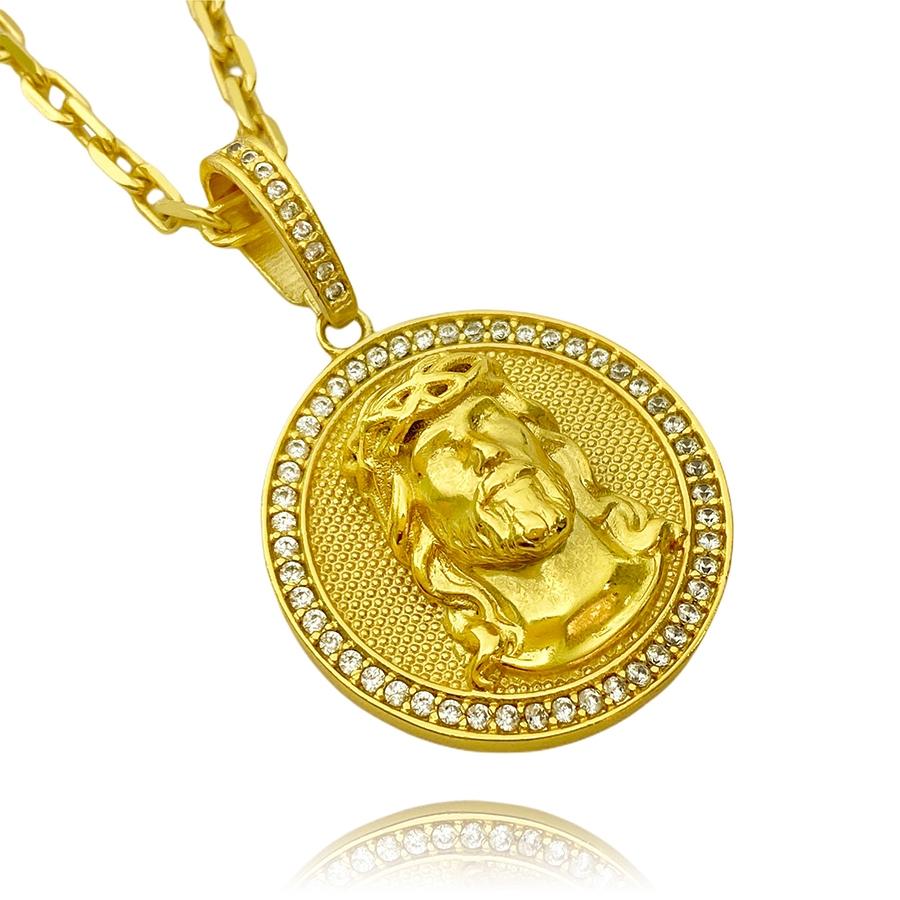 Pingente Medalha Rosto de Cristo Cravejado 3D (4cmX3,5cm) (15,2g) (Banho Ouro 24k)