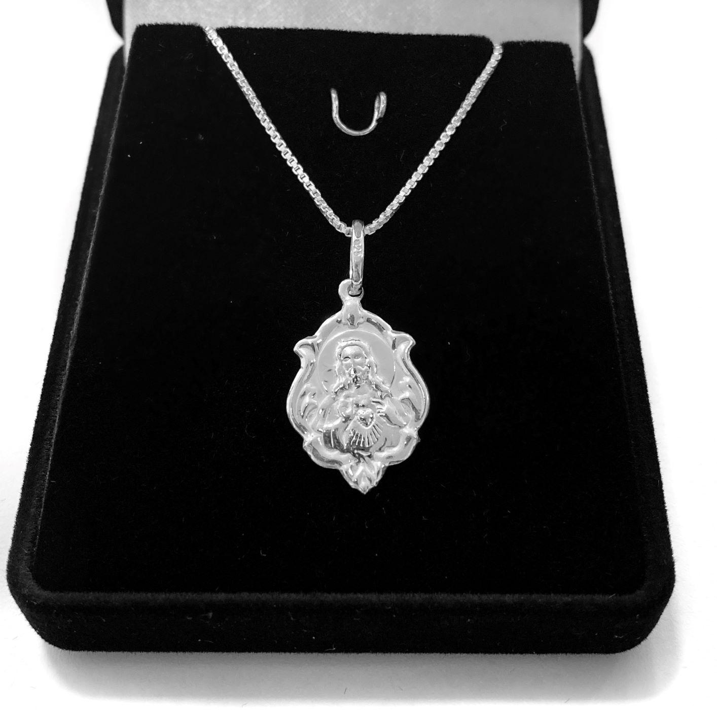 Pingente Medalha Sagrado Coração 2cm x 1,4cm (Prata 925 Italiana)