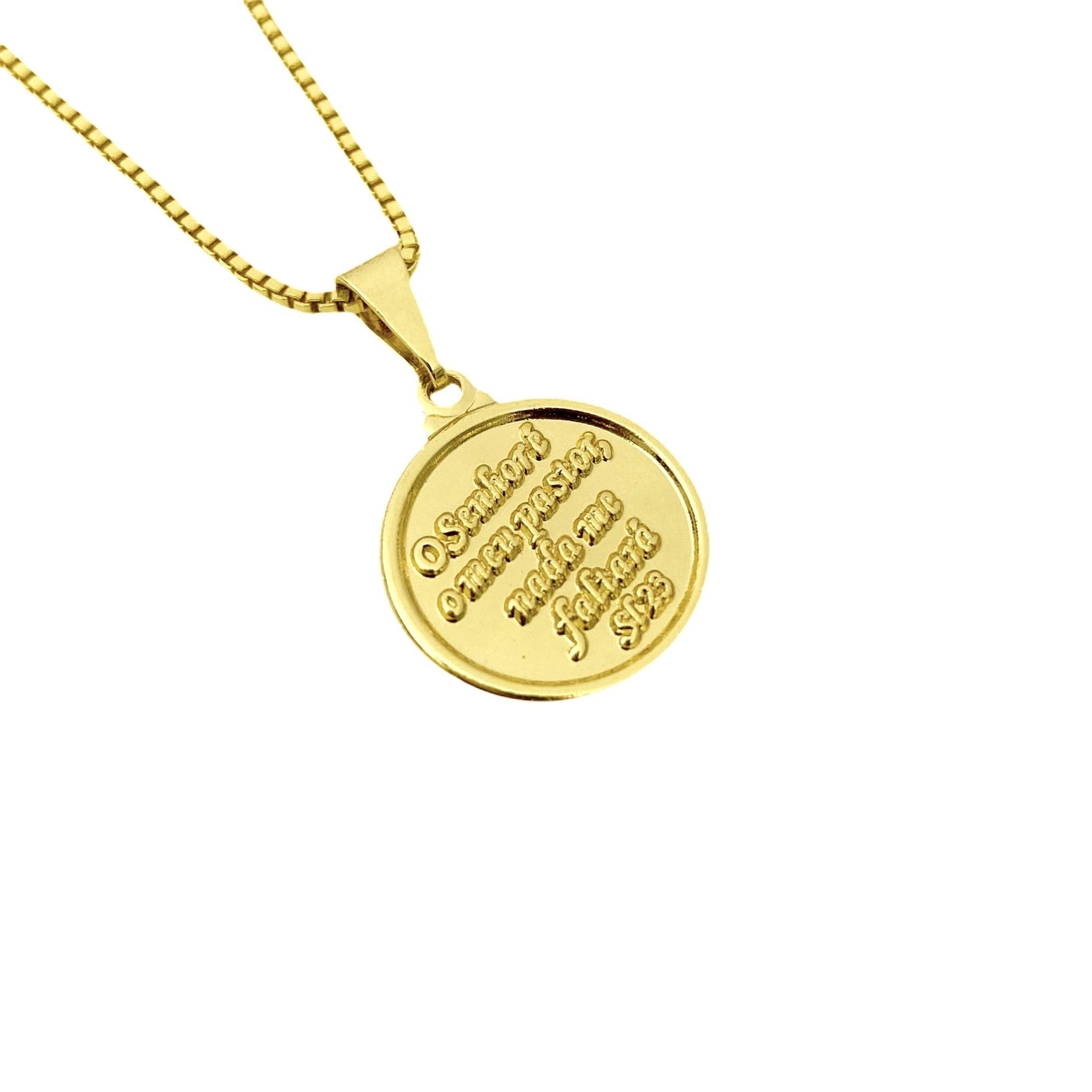 """Pingente Medalha """"O Senhor é Meu Pastor"""" Mini (2cmX1,7cm) (Banho Ouro 24k)"""
