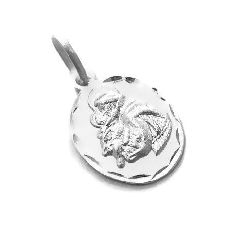 Pingente Medalha Santo Antônio Diamantado 1,4cm x 1cm (Prata 925 Italiana)