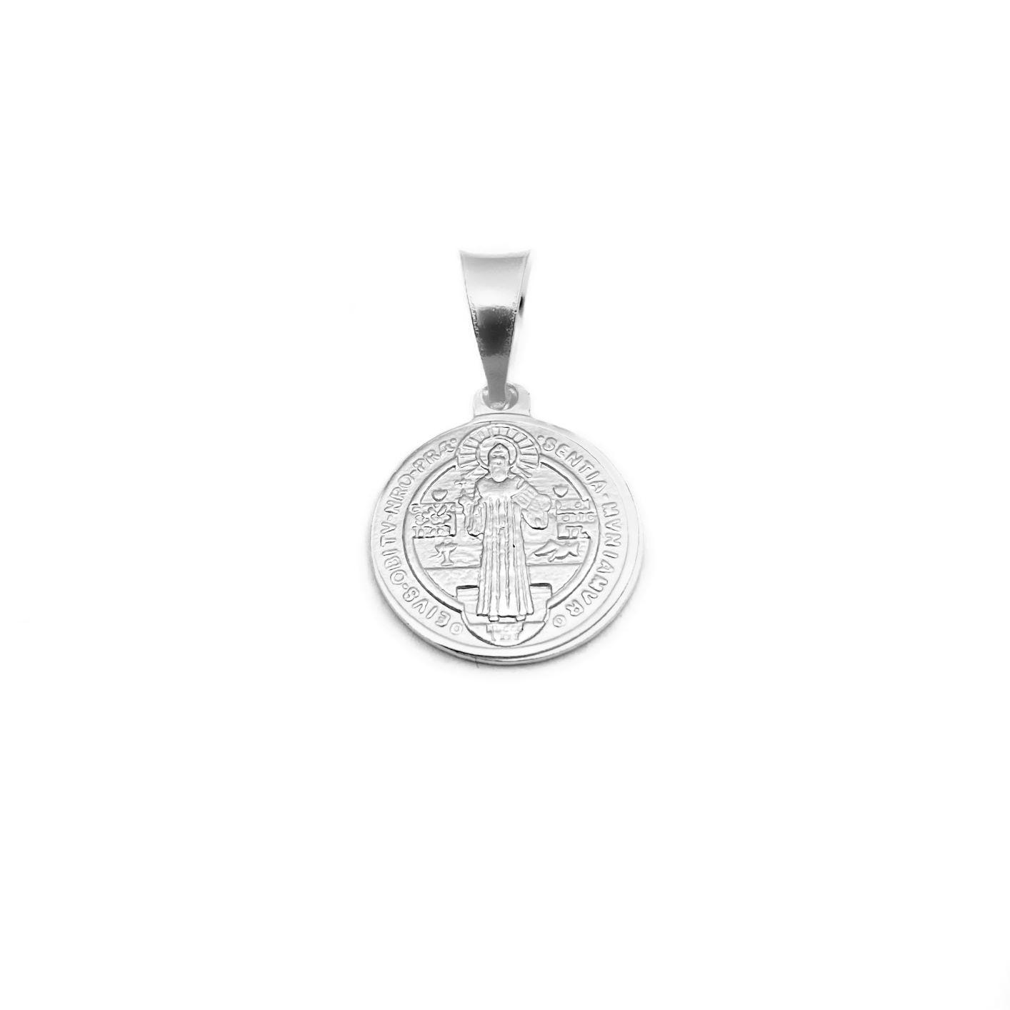 Pingente Medalha São Bento (Dupla Face) (1,7cmX1,5cm) (Prata 925 Italiana)