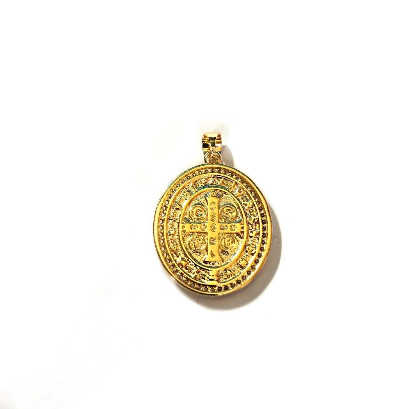 Pingente Medalha São bento Cravejada (Dupla face) 2,4cm X 2,0cm 6g