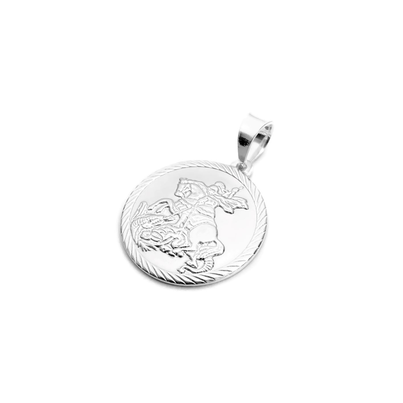 Pingente Medalha São Jorge 2cm x 2cm (Prata 925 Italiana)