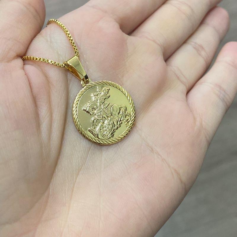 Pingente Medalha São Jorge Borda Texturizada (2,2cmX2,4cm) (Banho Ouro 24k)