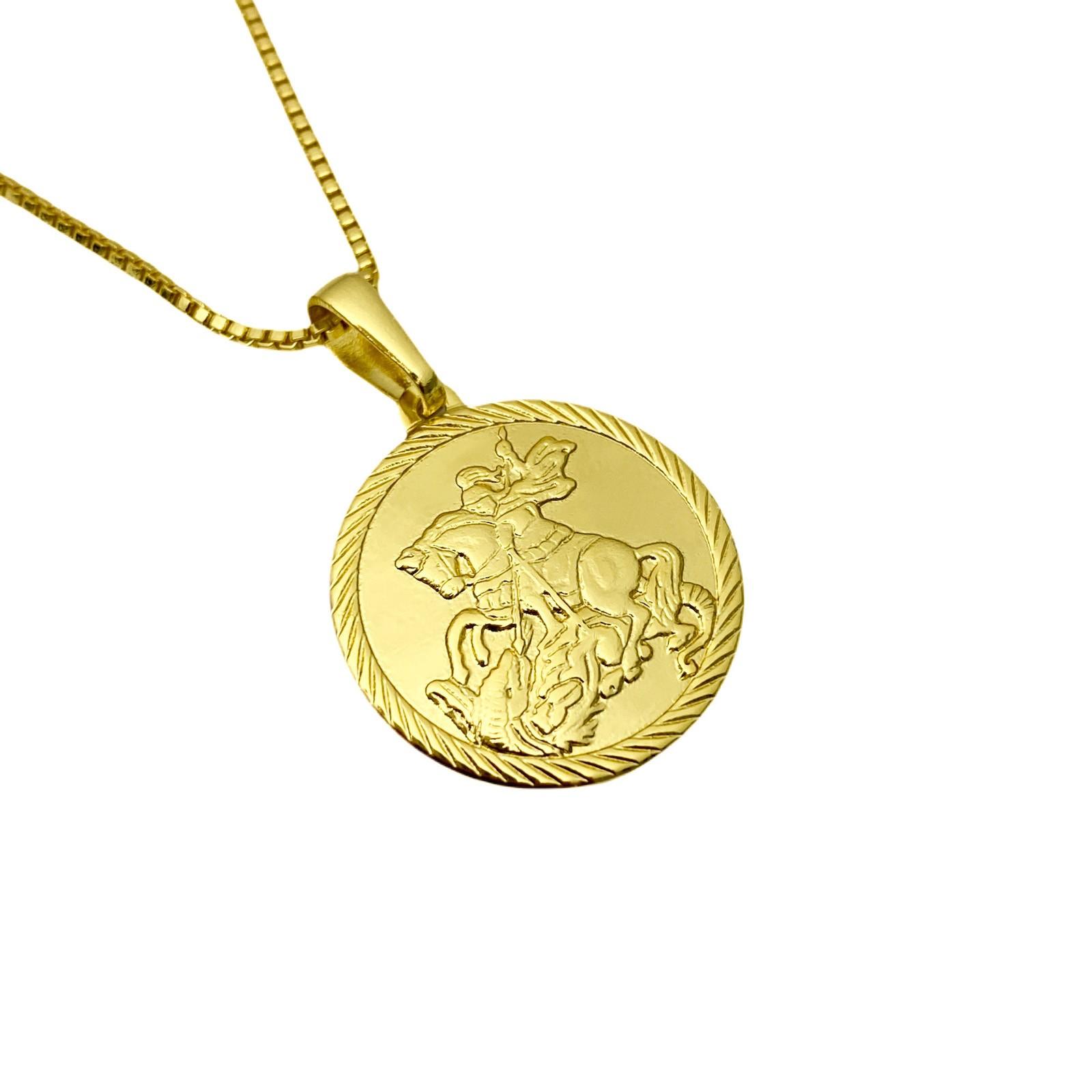 Pingente Medalha São Jorge Textura 2cm X 2cm