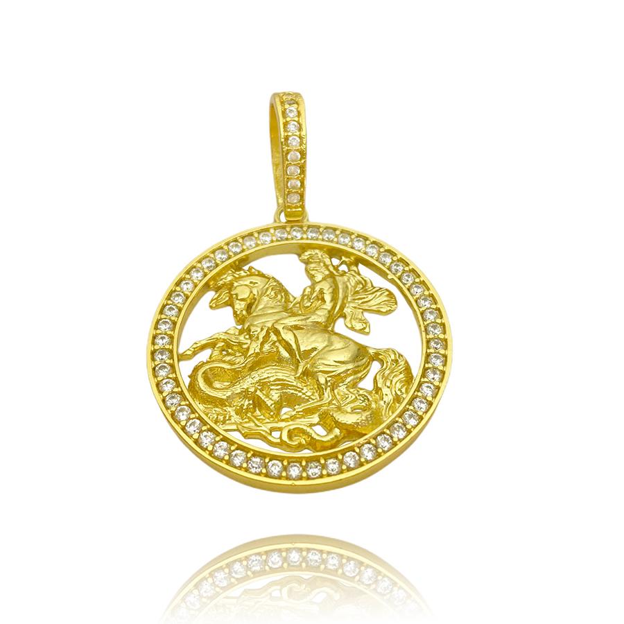 Pingente Medalha São Jorge Vazado Cravejado (4cmX3,6cm) (11g) (Banho Ouro 24k)