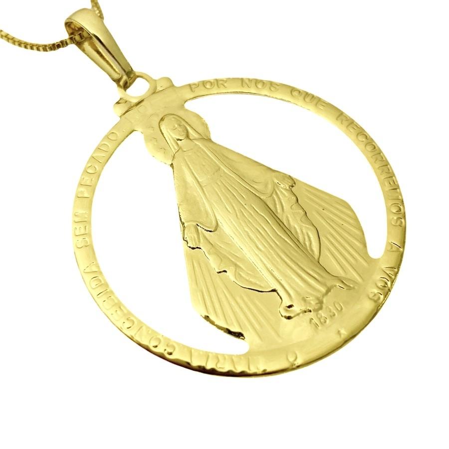 Pingente Medalha Vazada Nossa Senhora 3,9cm X 3,9cm